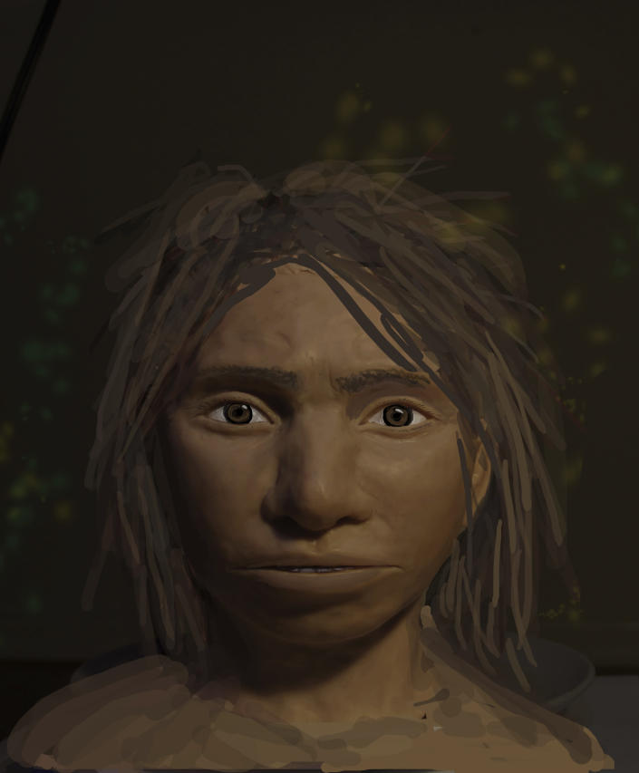 This image provided by Hebrew University in Jerusalem shows a preliminary portrait of a juvenile female Denisovan based on a skeletal profile reconstructed from ancient DNA methylation maps. Scientists say they've recreated a skull and some other features of a mysterious, extinct cousin of Neanderthals by analyzing its DNA. The genetic material came from the finger bone of a female member of the Denisovans, a population known mostly from small bone fragments and teeth recovered in Siberia's Denisova Cave. The the renderings that include skin and hair from the profile skeletal profile are not part of the study itself, but rather are based on the study results. ( Maayan Harel/Hebrew University in Jerusalem via AP)