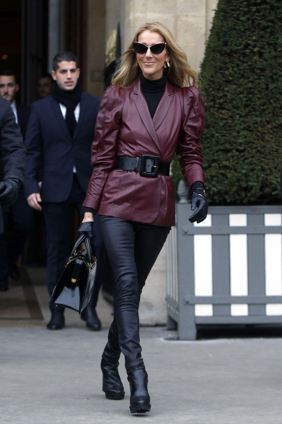"""<p>Hats off to Celine Dion for embracing some of fashion's more intimidating throwback trends. Here she is the height of '80s chic in head-to-toe leather. We love the burgundy color of the jacket and the cinched waist adds extra polish.</p><p><strong>RELATED:</strong> <a href=""""https://www.goodhousekeeping.com/beauty/hair/g28122979/80s-hair-ideas/"""" rel=""""nofollow noopener"""" target=""""_blank"""" data-ylk=""""slk:13 Amazing Hairstyles from the '80s"""" class=""""link rapid-noclick-resp"""">13 Amazing Hairstyles from the '80s</a></p>"""