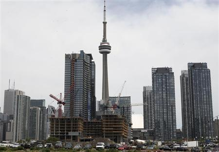 Condo buildings are seen under in construction in Toronto