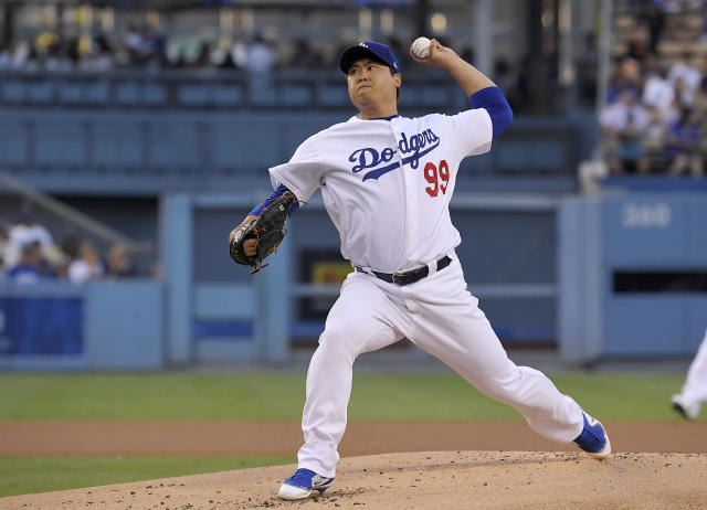 Los Angeles Dodgers starting pitcher Hyun-Jin Ryu throws during the first inning of a baseball game against the San Francisco Giants Wednesday, Aug. 15, 2018, in Los Angeles. (AP Photo/Mark J. Terrill)