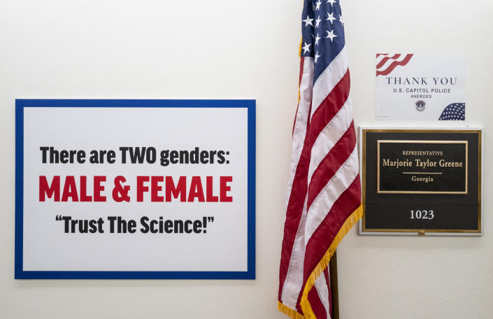 A sign put up by Rep. Marjorie Taylor Greene