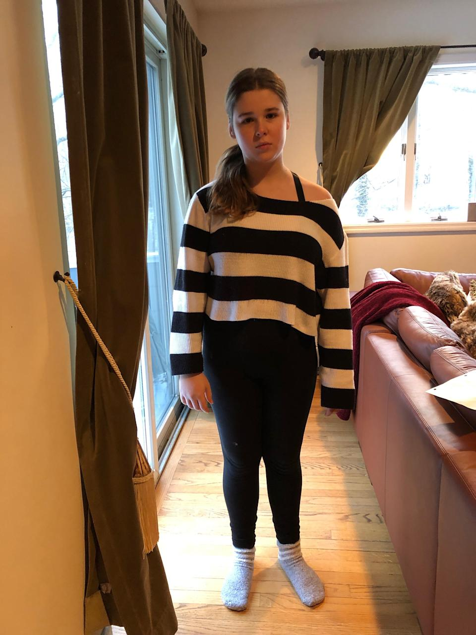 Samantha Wilson, an 8th-grade student at Irvington Middle School in N.Y. was dress-coded for her H&M sweater. Her family started a petition asking the school to reevaluate its rules. (Photo: Courtesy of Cydney Wilson)