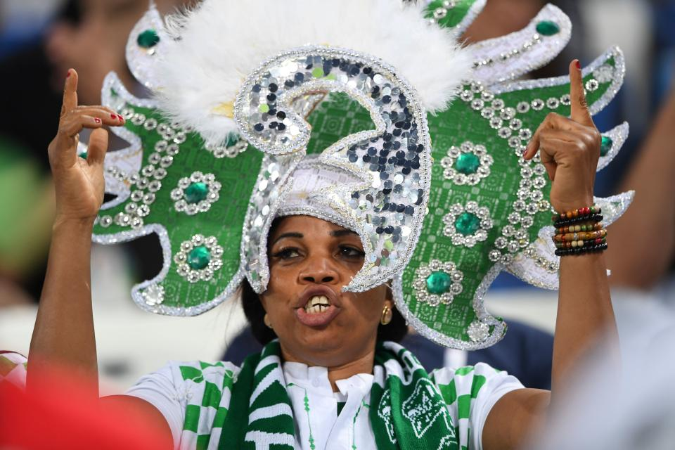 <p>A Saudi Arabian fan dons her nation's green and white before their first fixture against hosts Russia. (Getty) </p>