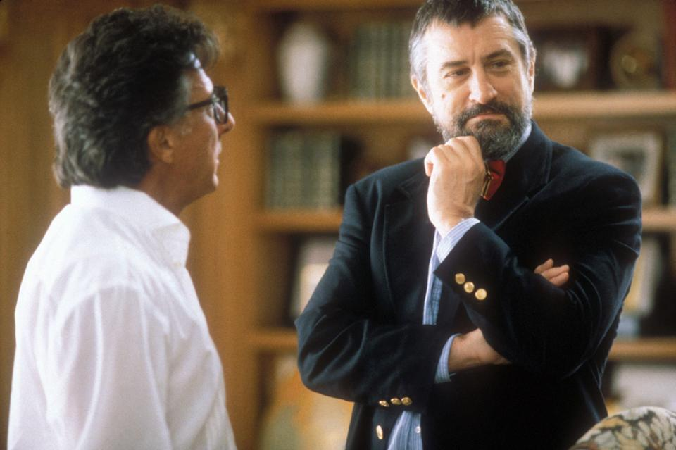 Dustin Hoffman and Robert De Niro in Levinson's 1997 satire, 'Wag the Dog' (Photo: New Line Cinema/courtesy Everett Collection)