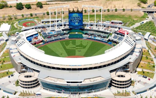 Kauffman Stadium played home to a game of Mario Kart on Tuesday. (Getty)