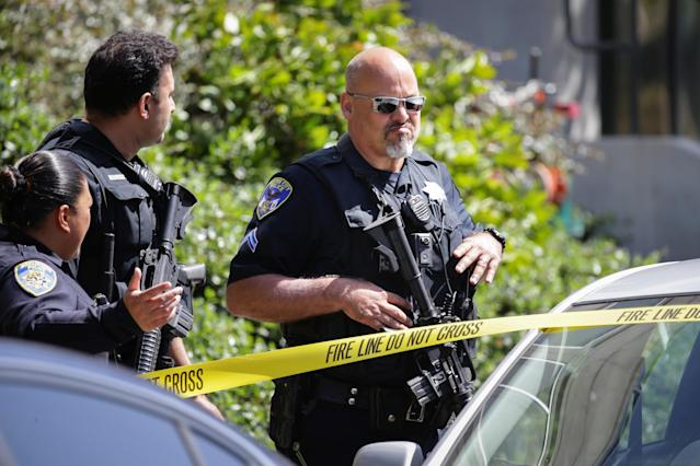 <p>Police officers are seen at Youtube headquarters following an active shooter situation in San Bruno, Calif., April 3, 2018. (Photo: Elijah Nouvelage/Reuters) </p>