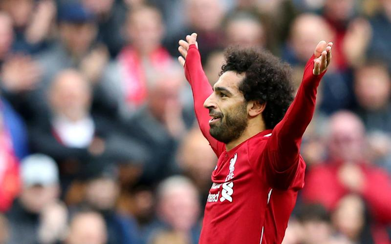 Mohamed Salah celebrates scoring Liverpool's third against Southampton  - Getty Images Europe