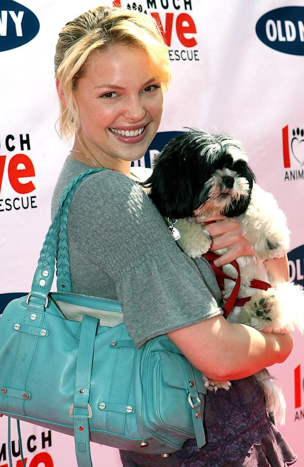 "Katherine Heigl with dog Maggie. Maury Phillips/<a href=""http://www.wireimage.com"" target=""new"">WireImage.com</a> - April 29, 2006"