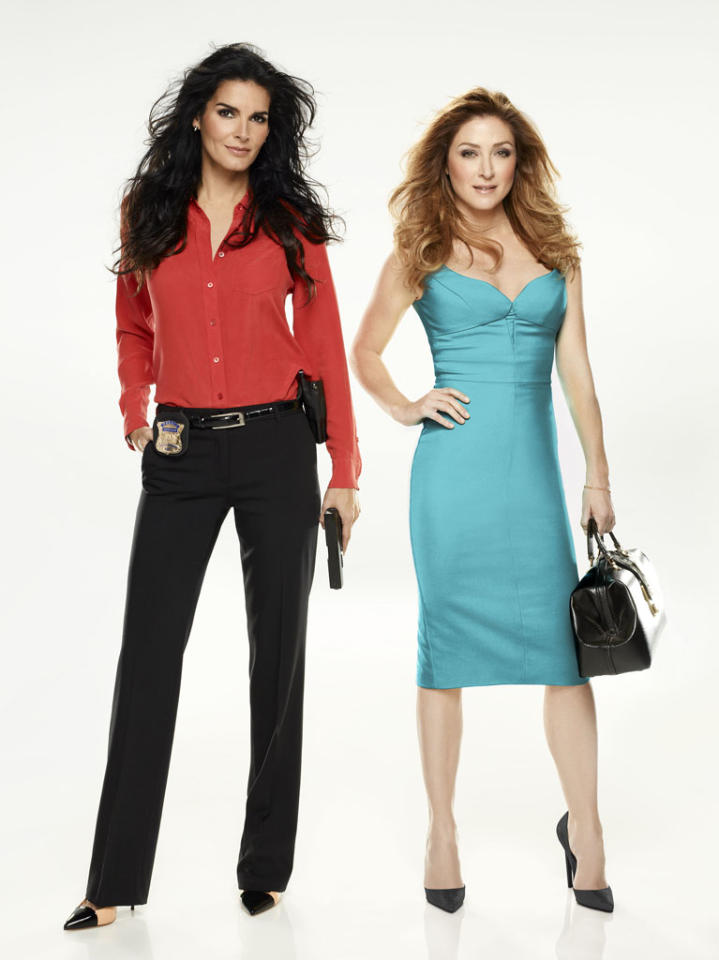 "Angie Harmon and Sasha Alexander in ""Rizzoli & Isles"" Season 4."