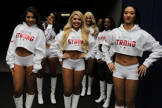 <p>Texan cheerleaders wait to perform while wearing Houston Strong tops during the Houston Texans NFL football game following the aftermath of tropical storm Harvey in Houston, Texas, U.S., September 10, 2017. REUTERS/Mike Blake </p>