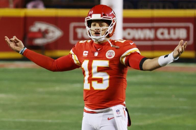Kansas City quarterback Patrick Mahomes celebrates in the fourth quarter of the Chiefs' 38-24 win over the Buffalo Bills that sends the team back to the NFL title game for a second straight year