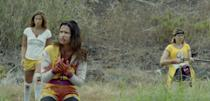 """<p>When their bus breaks down in the middle of nowhere, a high school volleyball team faces off against ruthless hunters in this dark comedy.</p> <p>Watch <a href=""""https://www.netflix.com/title/80198508"""" class=""""link rapid-noclick-resp"""" rel=""""nofollow noopener"""" target=""""_blank"""" data-ylk=""""slk:Girls With Balls""""><strong>Girls With Balls</strong></a> on Netflix now.</p>"""