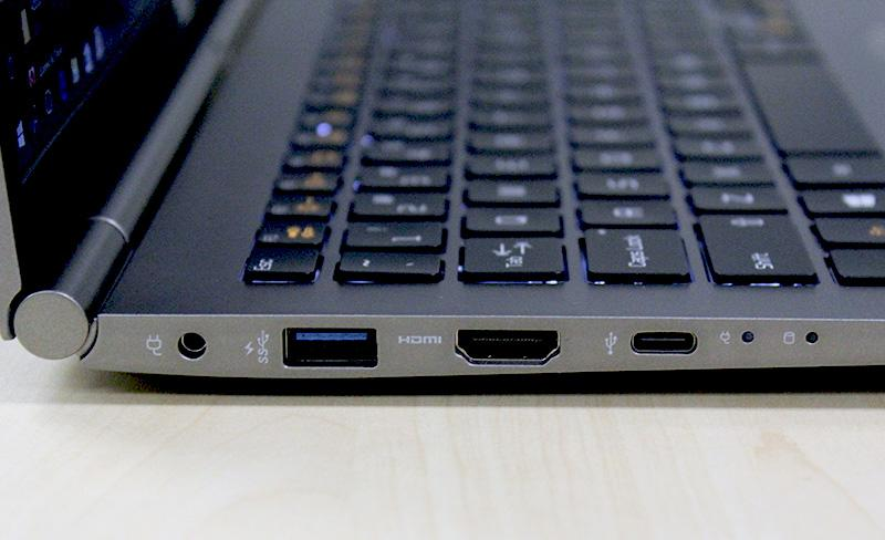 On the left, users can find the power jack, a USB 3.0 port, an HDMI port, and a USB Type-C port that supports USB 3.1.