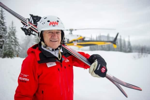 Mike Wiegele, founder of the Mike Wiegele Helicopter Skiing resort in Blue River, B.C., died at the age of 82 last week. (Wiegele Media - image credit)