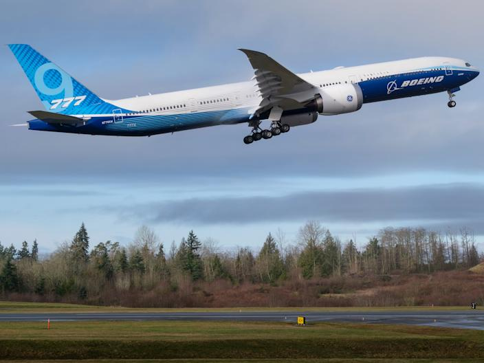 The first flight of the Boeing 777X.
