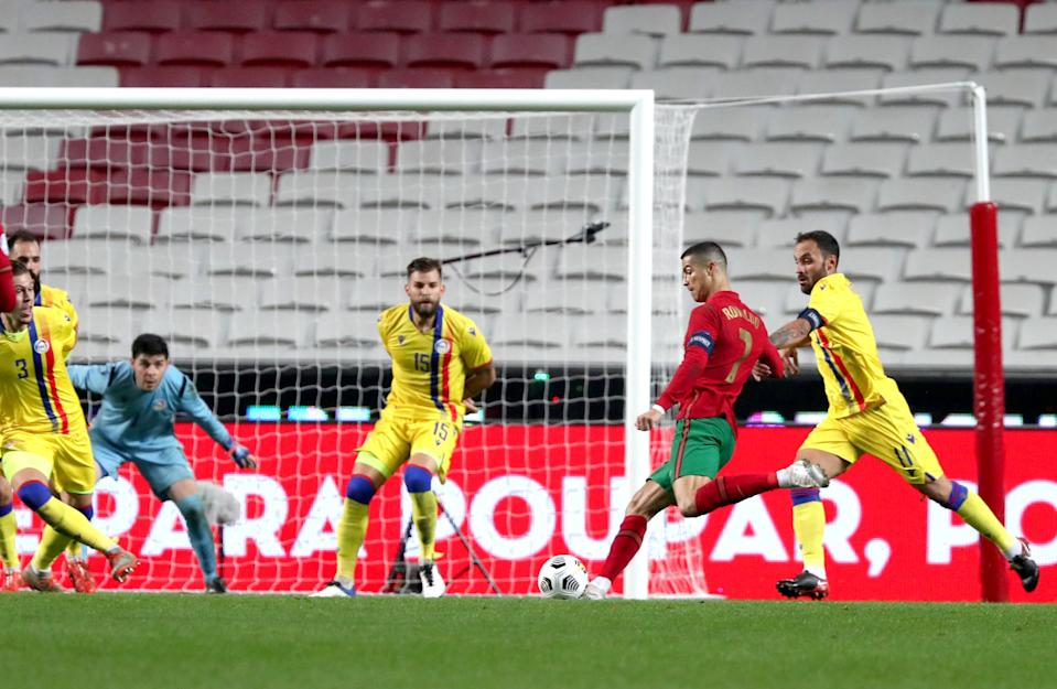 (201112) -- LISBON, Nov. 11, 2020 (Xinhua) -- Cristiano Ronaldo (2nd R) of Portugal shoots during a friendly football match at the Luz stadium in Lisbon, Portugal, on Nov. 11, 2020. (Photo by Pedro Fiuza/Xinhua) (Xinhua/Pedro Fiuza via Getty Images)