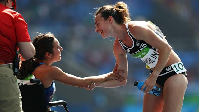 New Zealander Nikki Hamblin was stunned by Abbey D'Agostino's gesture during their 5000 metres heat in Rio.