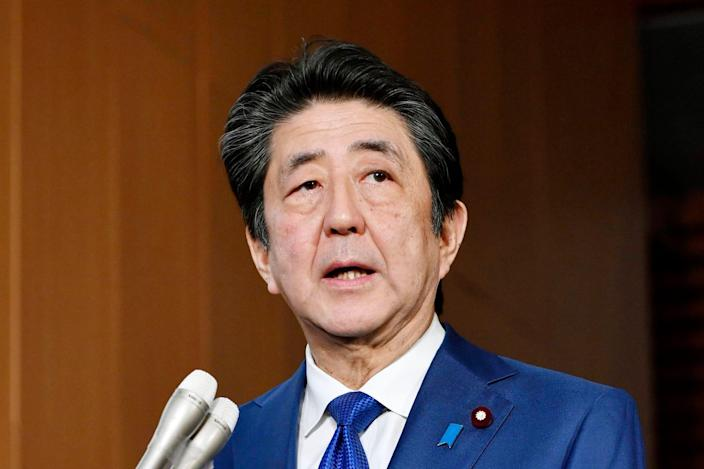 Japan's Prime Minister Shinzo Abe speaks to media about the projectiles that North Korea launched on Nov. 28, 2019, in Tokyo.