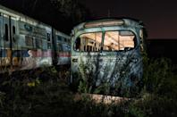 <p>Abandoned trolley graveyard in Pennsylvania. (Photo: Abandoned America/Caters News </p>