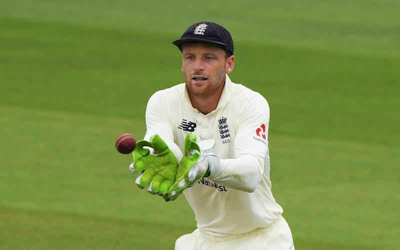 Cricket - Second Test - England v Pakistan - Ageas Bowl, Southampton, Britain - August 13, 2020 England's Jos Buttler in action, as play resumes behind closed doors following the outbreak of the coronavirus disease (COVID-19) - Pool/Reuters
