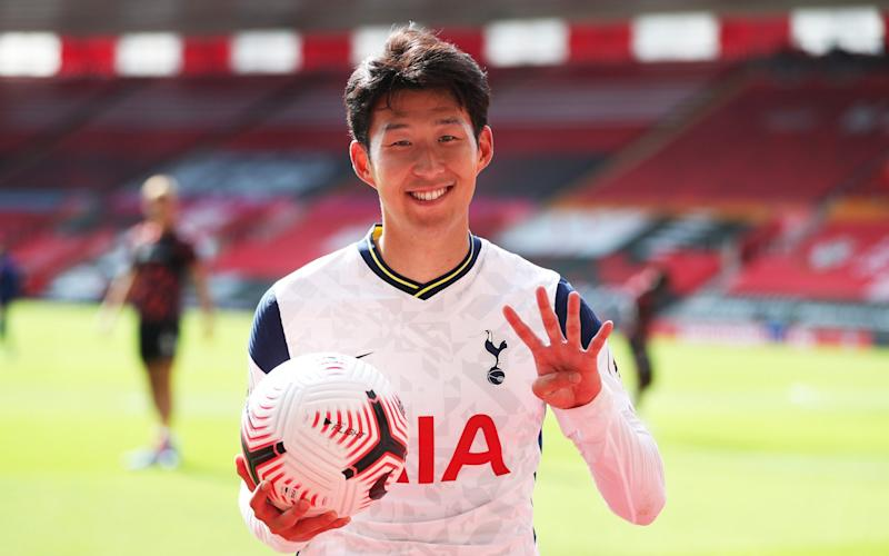 Heung-Min Son of Tottenham Hotspur poses for a photograph post match with the match ball having scored 4 goals during the Premier League match between Southampton and Tottenham Hotspur at St Mary's Stadium on September 20, 2020 in Southampton, England.  - GETTY IMAGES