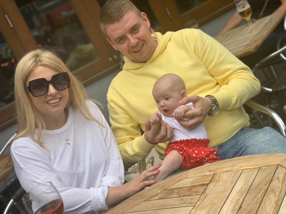 Poppy Stewart-Brown and Tommy Bolger with their daughter Arabella. (PA Real Life/Collect)