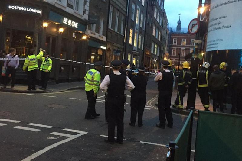 'Huge bang': Swathes of Soho have been closed off (Twitter/@SamHodges)
