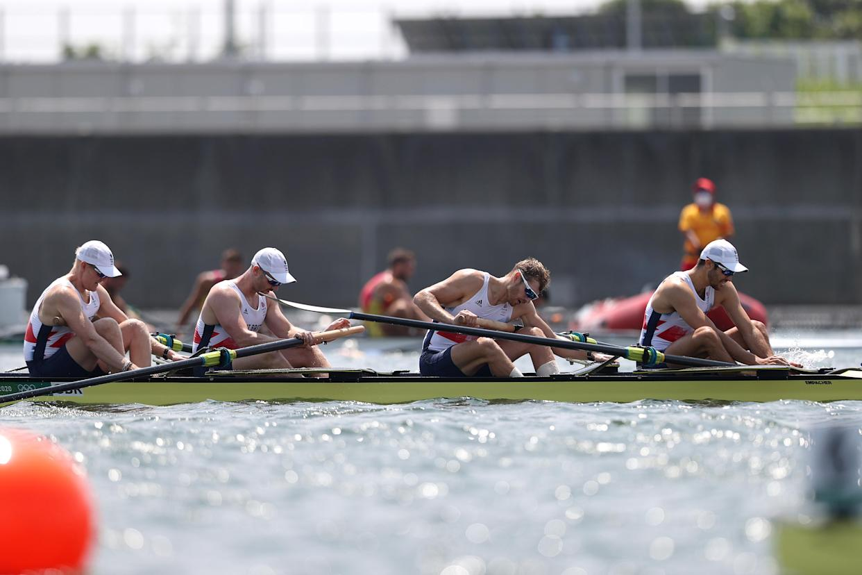 TOKYO, JAPAN - JULY 28:  Oliver Cook, Matthew Rossiter, Rory Gibbs and Sholto Carnegie of Team Great Britain react after coming in fourth during the Men's Four Final A on day five of the Tokyo 2020 Olympic Games at Sea Forest Waterway on July 28, 2021 in Tokyo, Japan. (Photo by Naomi Baker/Getty Images)