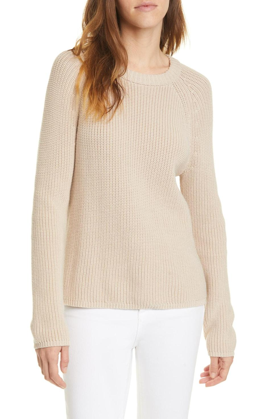 """<p>You need this classic <a href=""""https://www.popsugar.com/fashion/top-rated-sweaters-from-nordstrom-48516965?stream_view=1&amp;bonsai=product_ckkp6tujx009h12y29rsdd90i&amp;bonsaiRedirect=https%253A%252F%252Fwww.popsugar.com%252Ffashion%252Ftop-rated-sweaters-from-nordstrom-48516965%253Fstream_view%253D1&amp;bonsaiSource=link&amp;bonsaiType=links&amp;isExternal=true"""" class=""""link rapid-noclick-resp"""" rel=""""nofollow noopener"""" target=""""_blank"""" data-ylk=""""slk:Jenni Kayne Fisherman Sweater"""">Jenni Kayne Fisherman Sweater</a> ($295) in your life. It goes with everything, and it's easy to throw on and head out the door.</p>"""