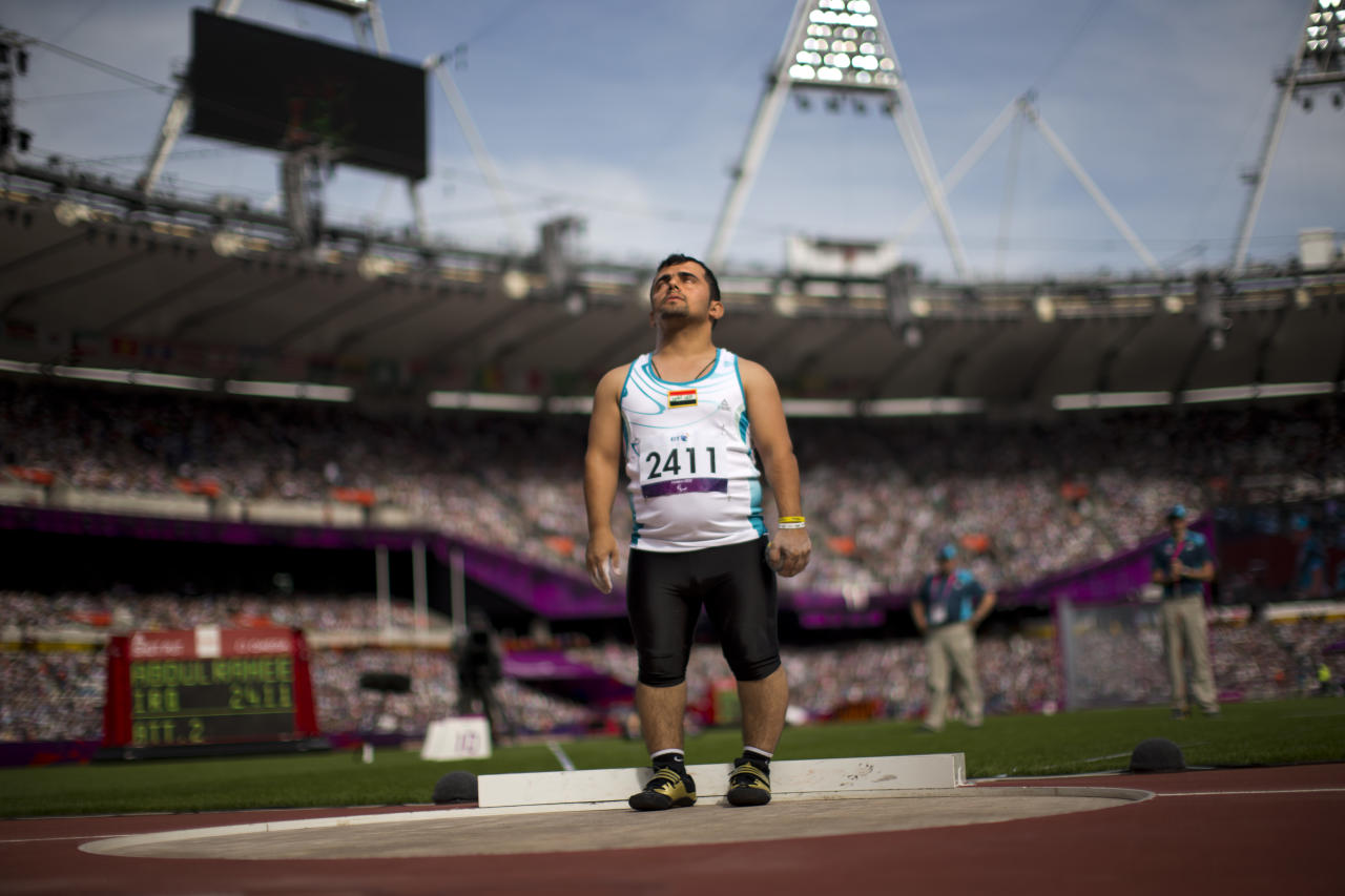 Iraq's Kovan Abdulraheem concentrates at Men's Shot Put - F40 at the 2012 Paralympics in London, Thursday, Sep. 6, 2012. (AP Photo/Emilio Morenatti)