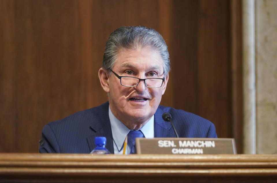 FILE - In this Feb. 24, 2021, file photo, Sen. Joe Manchin, D-W.Va., speaks during a Senate Committee on Energy and Natural Resources hearing on the nomination of Rep. Debra Haaland, D-N.M., to be Secretary of the Interior on Capitol Hill in Washington. (Leigh Vogel/Pool via AP, File)