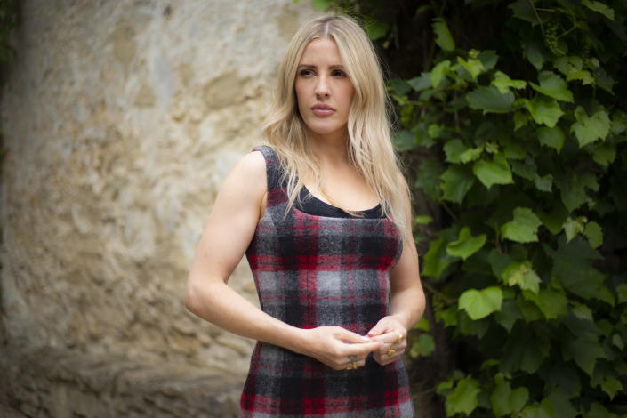 """FILE - In this July 6, 2020 photo, British singer-songwriter Ellie Goulding poses for portraits in Oxfordshire to promote her new album, """"Brightest Blue."""" Goulding turns 34 on Dec. 30.. (Photo by Joel C Ryan/Invision/AP, File)"""