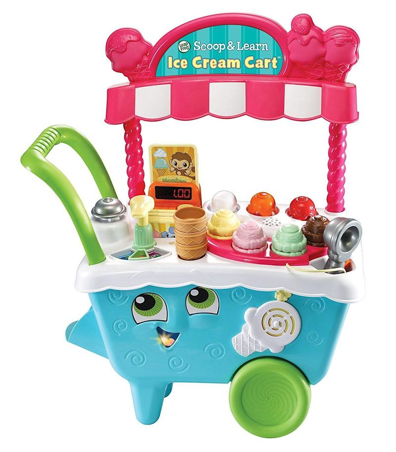 "This adorable scooper lets your kid learn the skills needed to <a href=""https://www.amazon.com/LeapFrog-Scoop-Learn-Cream-Cart/dp/B06XKXPLRP"" target=""_blank"">operate a small business</a> by running their own ice cream cart."