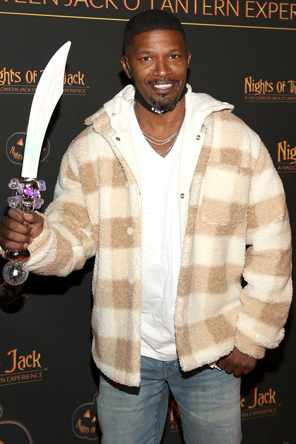 <p>arming himself at Nights of the Jack's friends and family preview night in Calabasas, California, on Oct. 1.</p>