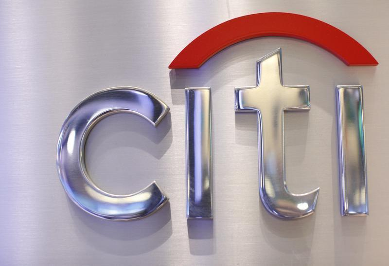 A Citi sign is seen at the Citigroup stall on the floor of the New York Stock Exchange