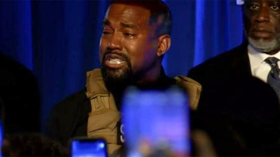 kanye west breaks down at rally