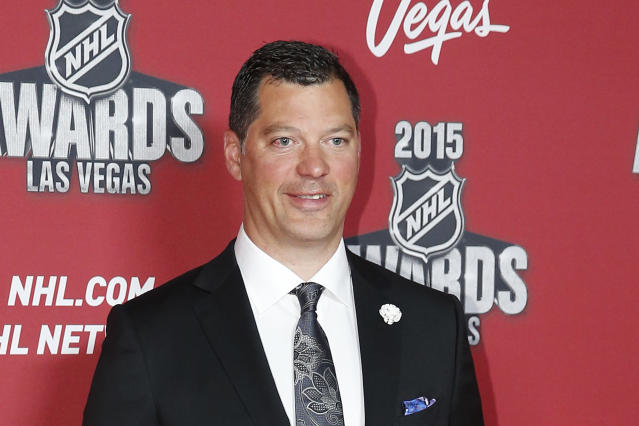 FILE - In this June 24, 2015, file photo, Bill Guerin poses on the red carpet before the NHL Awards show in Las Vegas. The Minnesota Wild have hired Guerin, who won two Stanley Cups as a player and two more titles in the front office with the Pittsburgh Penguins, as their new general manager. Guerin was announced Wednesday, Aug. 21, 2019, as the fourth GM in the teams 19-year history, three weeks after predecessor Paul Fenton was fired by owner Craig Leipold.(AP Photo/John Locher, File)