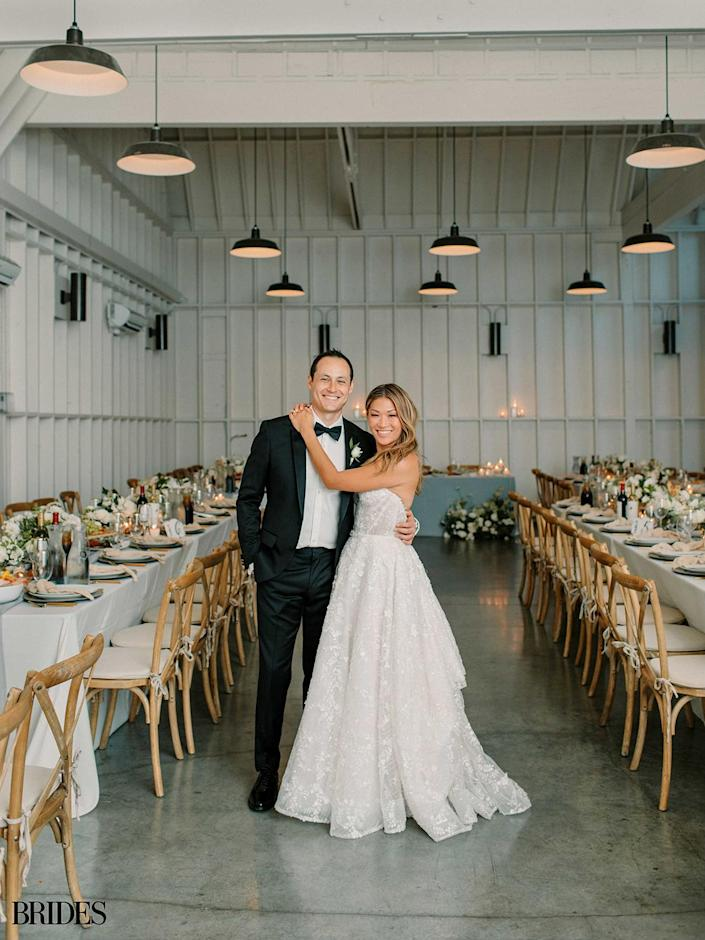 """<p>The couple settled on L.A.'s Lombardi House for their ceremony and reception. </p> <p>""""We could both see ourselves getting married inside this historic property that made us feel at home — it really did live up to its name,"""" <a href=""""https://www.brides.com/jenna-ushkowitz-wedding-5195978"""" rel=""""nofollow noopener"""" target=""""_blank"""" data-ylk=""""slk:Ushkowitz told"""" class=""""link rapid-noclick-resp"""">Ushkowitz told </a><em>Brides.</em></p>"""