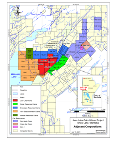 Figure 1. The Jean Lake lithium-gold property and adjacent properties, Snow Lake area, Manitoba.