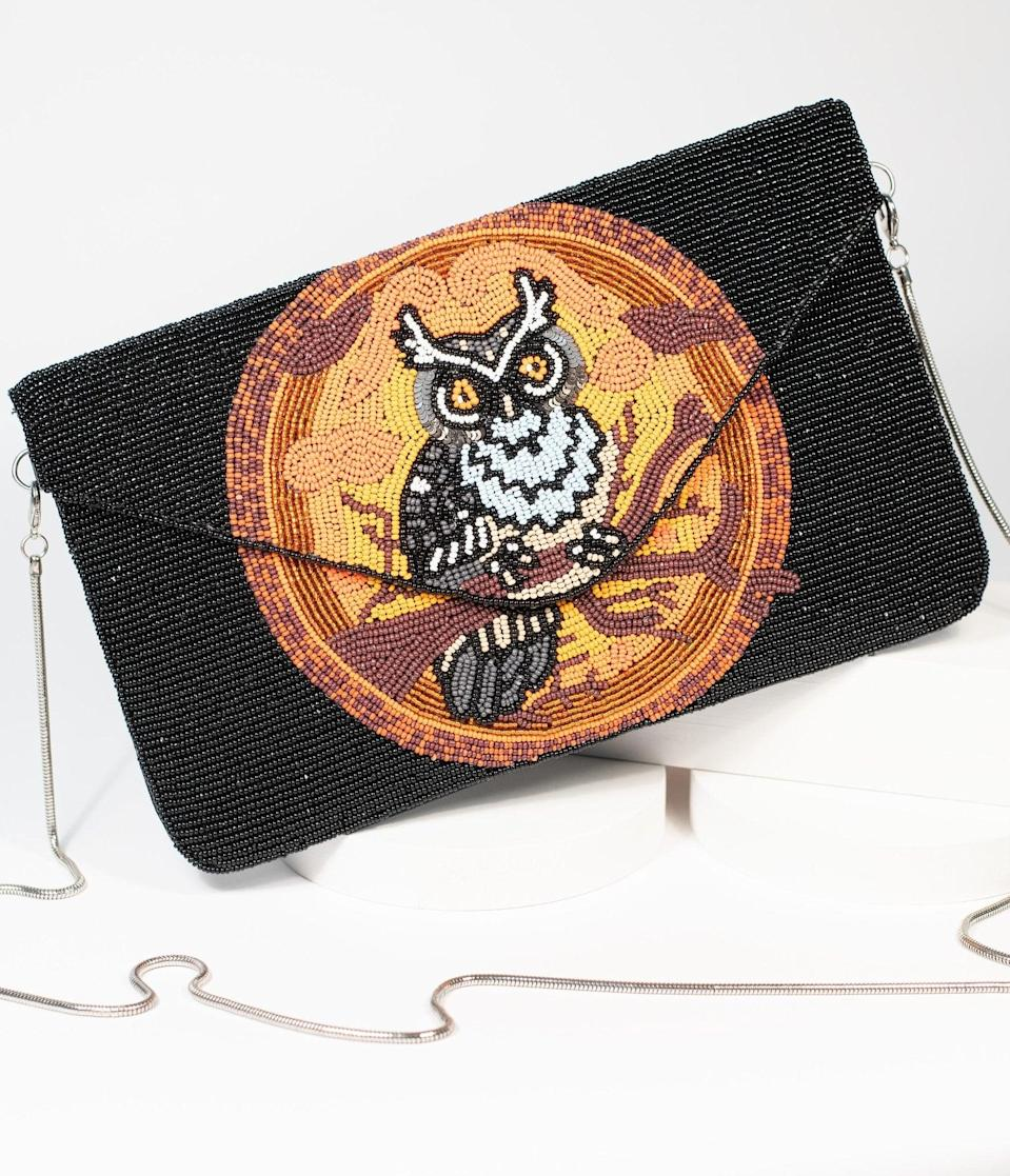 <p>The <span>Halloween Owl Beaded Envelope Clutch</span> ($78) has a magnetic closure to keep all your potions inside.</p>