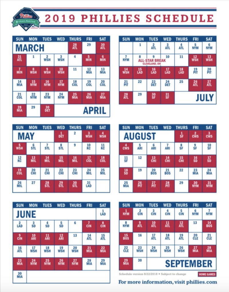 phillies' 2019 season schedule released