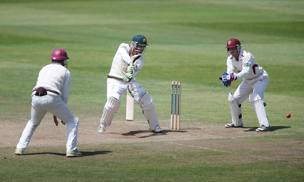 Australia batsman Phil Hughes during the International Tour match at the County Ground, Taunton.