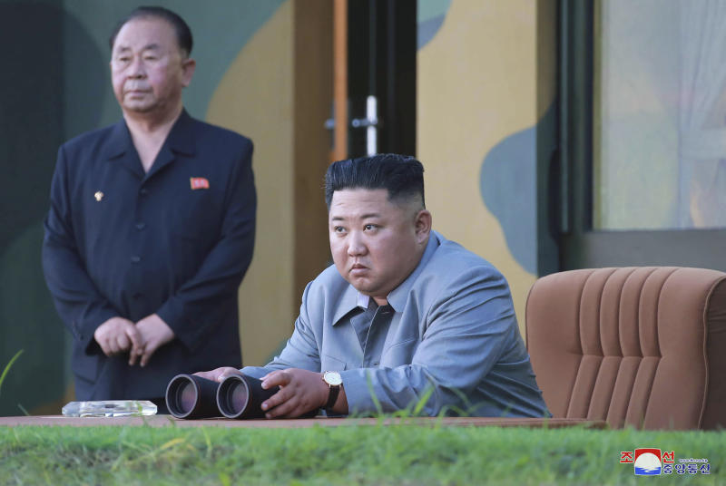 "FILE - In this July 25, 2019, photo provided on Friday, July 26, 2019, by the North Korean government, North Korean leader Kim Jong Un watches a missile test in North Korea.  South Korea's military said Friday, Aug. 16, North Korea fired more projectiles into the sea to extend a recent streak of weapons tests believed to be aimed at pressuring Washington and Seoul over slow nuclear diplomacy. Independent journalists were not given access to cover the event depicted in this image distributed by the North Korean government. The content of this image is as provided and cannot be independently verified. Korean language watermark on image as provided by source reads: ""KCNA"" which is the abbreviation for Korean Central News Agency. (Korean Central News Agency/Korea News Service via AP, File)"