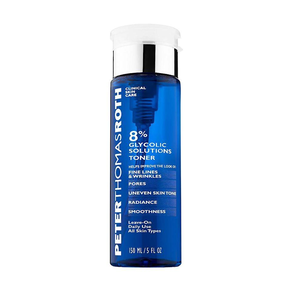 """<p><strong>Peter Thomas Roth</strong></p><p>amazon.com</p><p><strong>$40.00</strong></p><p><a href=""""https://www.amazon.com/dp/B00YP3J3RY?tag=syn-yahoo-20&ascsubtag=%5Bartid%7C2089.g.249%5Bsrc%7Cyahoo-us"""" rel=""""nofollow noopener"""" target=""""_blank"""" data-ylk=""""slk:Shop Now"""" class=""""link rapid-noclick-resp"""">Shop Now</a></p><p>One of our favorite glycolic toners, Peter Thomas Roth's Glycolic Solutions features a whopping 8% <a href=""""https://www.bestproducts.com/beauty/g22530244/benefits-of-glycolic-acid-skincare-products/"""" rel=""""nofollow noopener"""" target=""""_blank"""" data-ylk=""""slk:glycolic acid"""" class=""""link rapid-noclick-resp"""">glycolic acid</a>. </p><p>It works to smooth out fine lines, minimize the appearance of pores, and improve uneven texture. Just one quick swipe after cleansing your skin will get you closer to your brightest complexion.</p>"""