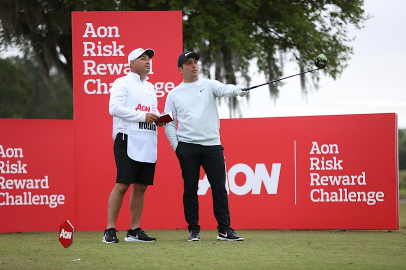 Major championship winner Francesco Molinari gets ready to tee off. Molinari tells Yahoo Finance he is big on using data to help improve his chances of winning.