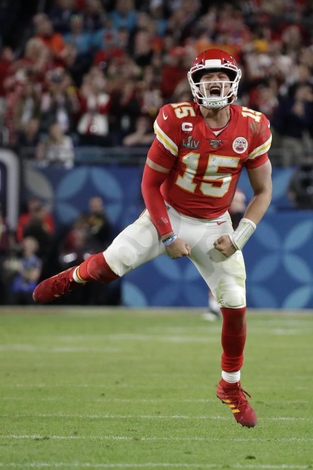 Kansas City Chiefs quarterback Patrick Mahomes (15) celebrates a long pass against the San Francisco 49ers during the second half of the NFL Super Bowl 54 football game Sunday, Feb. 2, 2020, in Miami Gardens, Fla. (AP Photo/Wilfredo Lee)