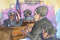 In this courtroom sketch Apple CEO Tim Cook, left, is cross examined by Epic Games lawyer Gary Bornstein, second from right, during a trial in San Ramon, Calif., on Friday, May 21, 2021. Cook described the company's ironclad control over its mobile app store as a way to keep things simple for customers while protecting them against security threats and privacy intrusions during Friday testimony denying allegations he has been running an illegal monopoly. The rare courtroom appearance by one of the world's best-known executives came during the closing phase of a three-week trial revolving around an antitrust case brought by Epic Games, maker of the popular video game Fortnite. (Vicki Behringer via AP)