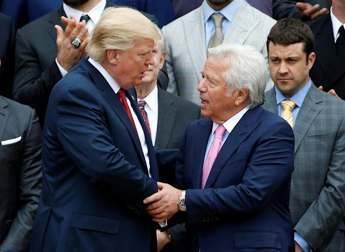 President Trump shakes hands with New England Patriots owner Robert Kraft during an event honoring the Super Bowl champion New England Patriots at the White House in 2017. (Photo: Joshua Roberts/Reuters)