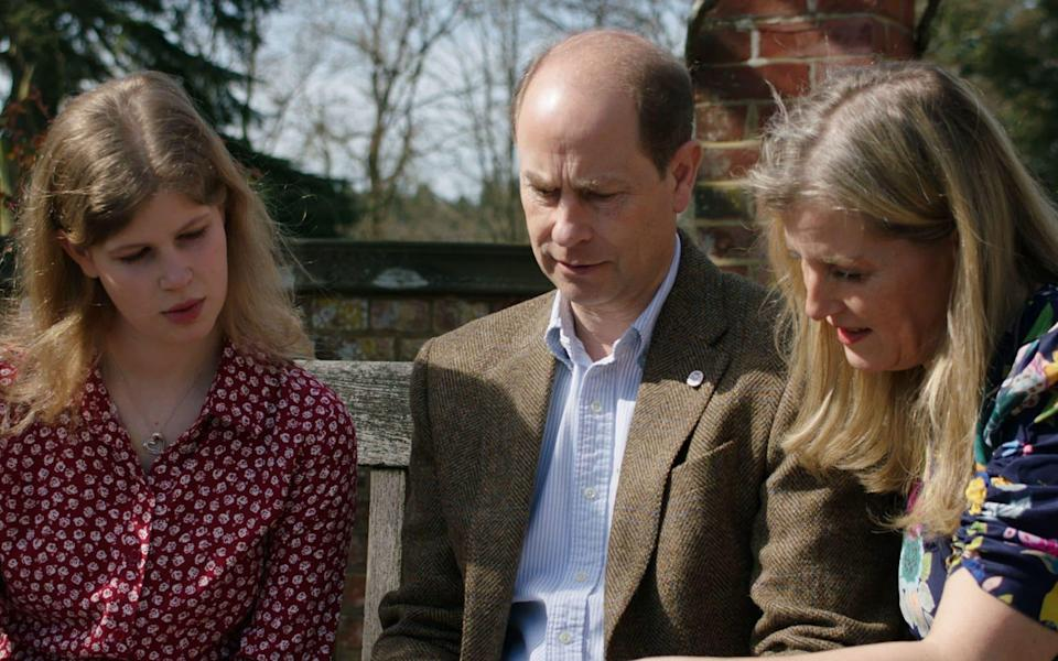 The Earl and Countess of Wessex and Lady Louise Windsor (left) - BBC