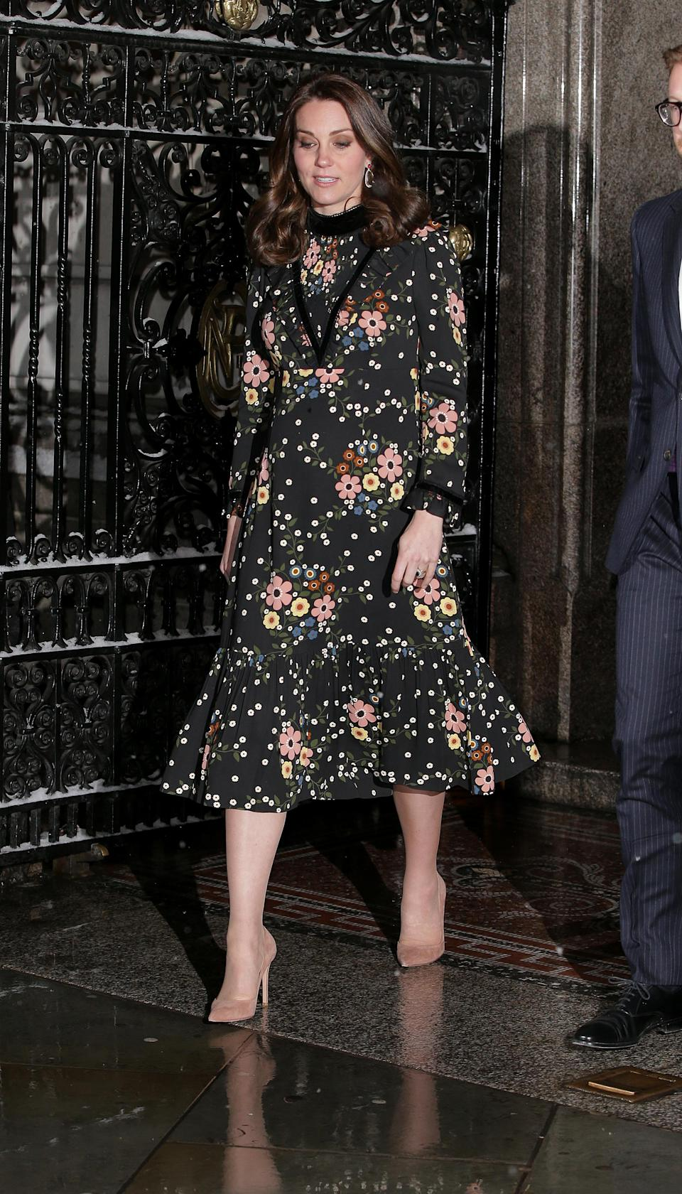 <p><strong>The occassion:</strong> Leaving the 'Victorian Giants' exhibition at National Portrait Gallery. <br><strong>The look:</strong> A floral Orla Kiely dress with Gianvito Rossi nude pumps and Kiki McDonough drop earrings. <br>[Photo: Getty] </p>